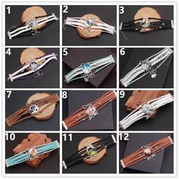 kombinationskunst Rabatt Weinlese-Frauen-Schmucksache-Charme-Pferdeglas-Armband der Art- und Weise10pcs / lot handgemachtes gesponnenes mehrschichtiges Leder-Pferdearmband