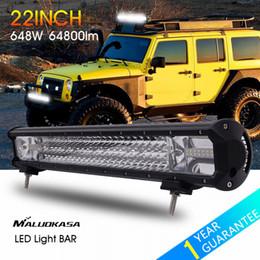 4x4 автомобили Скидка MALUOKASA 22inch 648W LED Light Bar 64800LM Car Driving Lamp Auto DRL Searchlight for Off Road Vehicle SUV  Wrangler 4x4 4WD