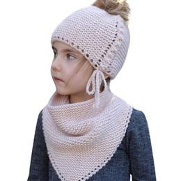 Búho de punto de los niños online-Winter Kids Warm Owl Lindo sombrero de dos piezas Sombrero de punto bufanda Gorros Gorros de invierno para niños Gorro de lana caliente para niños de dos piezas