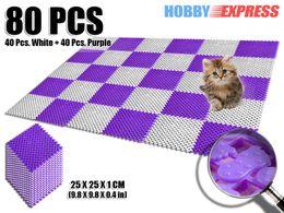 Пластиковые напольные покрытия онлайн-New 8 Packs Purple and White Anti Slip Indoor/Outdoor Plastic Flooring Mat Tiles Foot Prints Pattern 25 x 25 cm KK1128