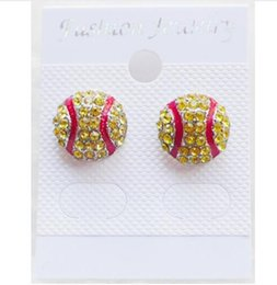 Wholesale Numbered Alphabet - Timkong waterproof soft high qulity Post Earring Studs Sofball Baseball Basketball Volleyball Soccer Football Cycling Skating Rhinestone