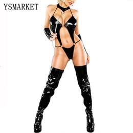 Wholesale Sex Latex For Men - Sex Costumes For Women PVC Dress Black Catsuit Erotic Lingerie Leather Bodysuit Jumpsuit Sexy Latex Catsuit Leotard Clothing 654