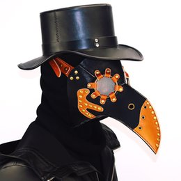 Cuero largo cosplay online-Steampunk Plague Máscara de ave Doctor Mask Nariz larga Cosplay Fantasía Exclusiva Gótico Retro Rock Cuero Halloween