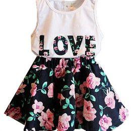 Wholesale Two Color Vest - Free Shipping 2018 Summer flower girl dresses set Children's dresses Love Letters Flowers Sleeveless Vest + Flower two parts