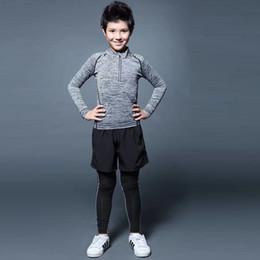 Wholesale Half Tights - kids boys running jacket Sports fitness Long sleeves half zipper Tight Gym Soccer basketball Outdoor training Jogging Jackets