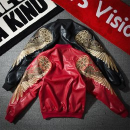Wholesale Korean Style Jackets Men - Spring and Autumn Men's New Korean Style Wings Coats Embroidered PU Leather Locomotive Personality Men's Leather Jacket Tide