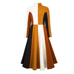 Oficina formal vestidos de invierno online-Young17 Vestido de otoño Mujer 2018 Patchwork Cintura alta Cuello alto fiesta Elegante oficina Trabajo formal Vestido de invierno Otoño Vestido de una línea