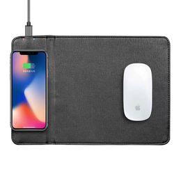 multi-funktions-handy-ladegeräte Rabatt Luxus-Multi-Funktions-Mauspad mit Wireless-Ladegerät Eingebaute PU-Leder-Mauspad kann Telefonhalterung zum Aufladen iphone Samsung S8