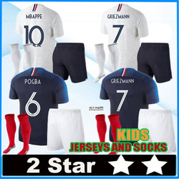 Wholesale shirt stars - 2 stars MBAPPE kids kit pogba Jersey 2018 World Cup DEMBELE GRIEZMANN KANTE national team football shirts maillot equipe de MBAPPE