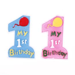 1-й день рождения мальчик партии поставок Скидка SHNGki My 1st Birthday Candle Cake Number Decoration GIRL/BOY Cake Candles Cute Kids Baby Birthday Baby Shower Party Supplies