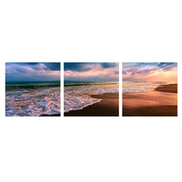 Wholesale Wall Decor Panels Beach - MingTing - 3 Panel Canvas Wall Art Sunset And Beach Landspace Poster Painting Modern Home Decor For Living Room Study Room No Frame