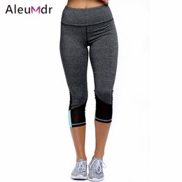 Wholesale Hot Slim Patch - Aleumdr Hot Sale Yoga Pant Women High Waist Gym Running Patch Mesh Leggings Sport Fitness Capri High Elastic Slim LC77033