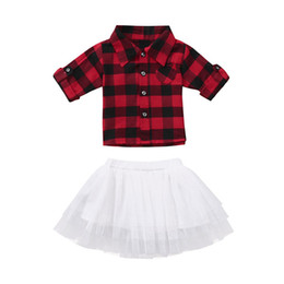 girls plaid skirt outfits Promo Codes - Christmas Baby girls outfits infant red black Plaid top+Tutu lace skirts 2pcs set fashion Autumn Xmas kids lattice Clothing Sets C5377