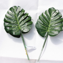 Wholesale Furniture Wall Decor - Artificial Monstera Turtle Leaf Wall Plant Tree Branch Wedding Home Office Furniture Garden Decor Green P028