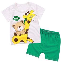 Jirafa bebe ropa niño online-2018 Baby boys girls clothes Summer Toddler boy girl sets sets Dibujos animados ropa para niños Kids Costume Giraffe bear Boys clothing