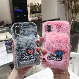 2019 capa iphone inverno 3d quente plush phone case para iphone x xr xs max inverno suave pele quente peludo capa casos para iphone 8 76 s plus