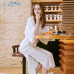 Autumn New velour Lady Robe Bathrobe Nightgown middle Warm half Sleeve Sleepwear  Bath Night velvet Female pajamas Nightgown 63686d46d