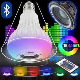 Wholesale Smart Rgb Led - E27 Wireless Bluetooth Speaker +12W RGBW RGB Bulb LED Lamp 110V 220V Smart Led Light Music Player Audio with Remote Control