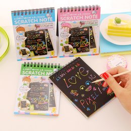 Wholesale Black Magic Paint - Wholesale- Free shipping DIY Cute Kawaii Coil Graffiti Notebook Black Page Magic Drawing Painting Sketch Book For Kids School Supplies 1013