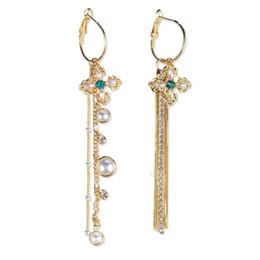Wholesale Dangle Cross Stud Earrings - European and American temperament long earrings star with paragraph cross pearl fringed earrings hypoallergenic pure silver needle ear studs