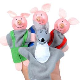 2019 marionetas de mano 4PCS tres pequeños y lobo Finger Puppets Hand Puppets Christmas Gifts Cherryb marionetas de mano baratos
