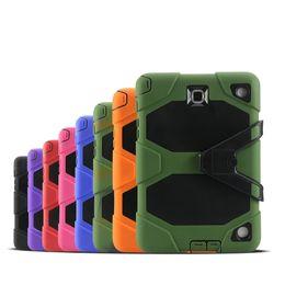 estuche resistente resistente resistente Rebajas Heavy Duty ShockProof Rugged Impact Hybrid Tough Armor Funda para iPad 2 3 4 5 6 Mini Samsung Galaxy Tab 3 4 P3200 P5200 T330 T230 PCC067