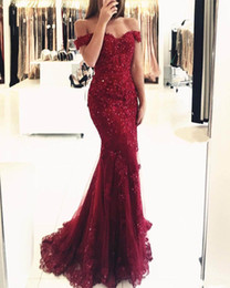 Wholesale Royal Blue Brooches - 2017 Sexy Prom Dresses Off Shoulder Dark Red Burgundy Hunter Lace Appliques Beaded Mermaid Long Open Back Evening Dress Party Pageant Gowns