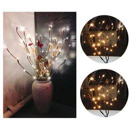 2019 ramos iluminados brancos Decoração de natal Quente Branco Led Willow Ramo Lâmpada Luzes Florais 20 Lâmpadas de 30 Polegadas Em Casa Decoração de Festa de Natal Jardim 5o1120 desconto ramos iluminados brancos
