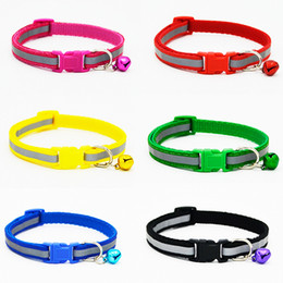 Wholesale Pc Basic - 1 PCS New Fashion Reflective Nylon dog collars for small dogs Pet Cat Collar 6 colors adjustable dog collar with Rivet wholesale