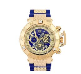 Wholesale chronograph wrist watches for men - 18 INVICTA Luxury Gold Watch All sub dials working Men Sport Quartz Watches Chronograph Auto date rubber band Wrist Watch for male gift
