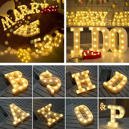 Wholesale 3d sign letters - 26 Letters LED 3D Light DIY Night Light Kids Gift Marquee Sign Alphabet Lamp For Birthday Wedding Party Bedroom Wall Hanging Decoration
