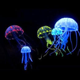 Wholesale Jellyfish Decorations - Glowing Jellyfish Ornament Decoration for Aquarium Fish Tank imitation floating jellyfish 10 pcs mini for home