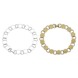 Paramètres de blocs en Ligne-1 pc Fit 10mm Verre Cabochon DIY 22 cm Chaîne Antique Bronze Argent Plaqué Ronde Paramètres Vierges Lunette Pad Bracelet Bracelet Base