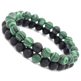 Wholesale emerald green bead bracelet - New Arrival Malachite Distance Bracelet Set Charms Round Beads Elastic Couple Braclet For Women Men Meditation Jewelry