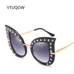 f8288779b59 2019 Personality Cat Eye Sunglasses Women Brand Designer Pearl Rivet Sun  Glasses For Women Female Lady Large Frame Oculos de sol
