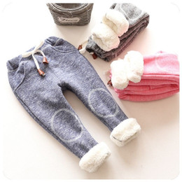 Wholesale Brown Leggings Children - autumn baby girls winter leggings children plus thick velvet pants casual trousers kids warm girl christmas pants