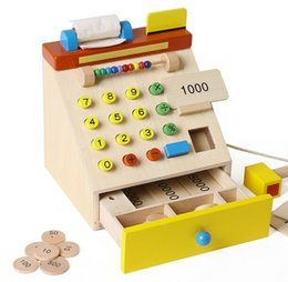 Wholesale pretend play kids - Wooden Supermarket Cash Register Coins Bills & Credit Cards Pretend Play Educational Toys - Perfect Gift For Kids Children