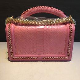 Wholesale Le Purse - Women new Flaps bag Le Boy BEST A+Quality Classic famous brand Designer women fashion chain lambskin purse real Python leather shoulder bags