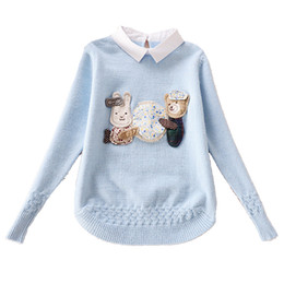 Wholesale Sweaters For Winter Kids - Teenage Kids Sweaters For Girls Outerwear Turn-Down Collar Cartoon Knit Wear Autumn Knitted Bottoming Shirts Girls Tops 4 12 14