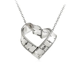 Wholesale Wholesale Charm Connectors - Creative Heart-shaped Ruler Necklace Gold Silver Tone Ruler Connector Charm Pendant Necklace for Women Men Jewelry Gift For Teacher A548
