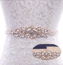 Wholesale Diamond Sashes - MissRDress designed wedding dress sash luxurious rose gold crystal diamond rhinestones ribbon for bridal porm belt YS858