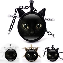 Wholesale Gemstone Cat - Car Face Frame Black Cat Glass Cabochon Necklace Time Gemstone Jewelry Fashion Gift for Kids Gifts Drop shipping