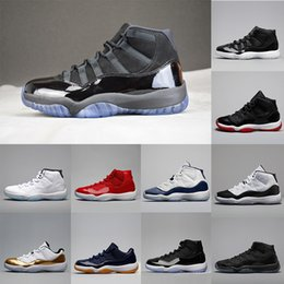 Wholesale Womens Size 11 Shoes - Wholesale 11 XI Basketball Shoes blackout SPACE JAM Gym Red Men Womens Prem heiress Basketball Shoes Midnight Navy 11S Sneakers size 36-47