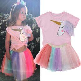Wholesale Rainbow Clothes Kids - 2Pcs Baby Girls Clothes Set Kids Unicorn Tshirt Top Lace Rainbow Tutu Skirt Outfits Set Girl Clothing Summer