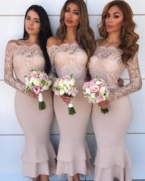 gold ankle length bridesmaid dresses Coupons - Sexy Off Shoulder Blush Pink Mermaid Bridesmaid Dresses Long Sleeves Lace Applique Ankle Length Tiered Wedding Guest Dresses Formal Dresses