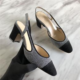 talon fronde doré Promotion 2018 or argent noir talons moyens pompes marque design bling bling paillettes slingback Chaussures côté femme découpées sandales d'été pour dames
