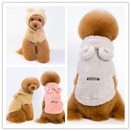 2019 traje de urso cão S-XXXL fantasia de cachorro com roupas animal de estimação bonito de ouvido urso fato do cão de dupla face inverno pilha Outono quente para fontes do cão bichon poodle traje de urso cão barato