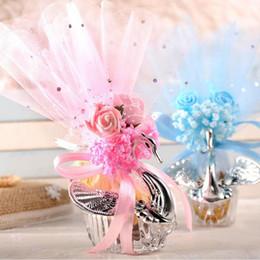 2019 documenti di supporto natale Scatole di caramelle di bel cigno con il regalo di nozze acrilico del nodo del fiore Le scatole di regalo romantiche classiche di caramella di trasporto libero