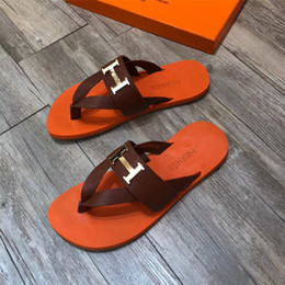 db4691a0b brand fashion luxury designer flip flops men slippers designer sandals  Men s leather flip flops men Factory direct free shipping