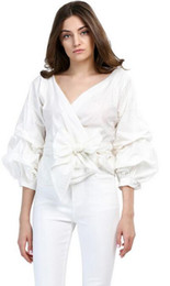 Wholesale Silk Blouse For Summer - 2017 Summer Puff Sleeve White Blouse with Belt Women Sexy V Neck Woman Shirt Elegant Plaid Tops Formal Clothing for Office lady